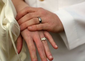 Our wedding rings, the ultimate symbol of commitment.