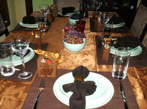 Thanksgiving 2007 table; not an every-day setting but pretty and inviting, right?