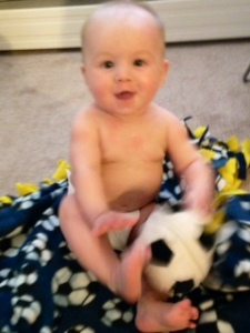 Watch out, Beckham -- he's 1/2 Salvadoran and (if his daddy has his way!) destined for futbol greatness!